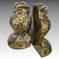 Decorative Wise OWL Chalkware Bronzed Bookends