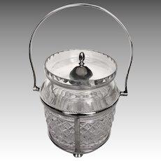 English Crystal Silverplate Pickle Jar Caddy & Fork