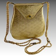 Harry Rosenfeld 70's Embossed Gilt Metal Evening Clutch or Shoulder HandBag
