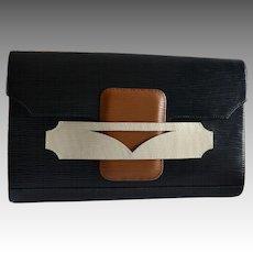 Exotic Brazilian Leather clutch handbag Modern Geometric Pattern