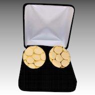 Modernist Oval Disc Gold Plate and Enamel Pierced Earrings