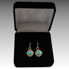 Custom Designed 14K Gold Natural Sleeping Beauty Turquoise Drop Earrings