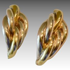 Israel Modernist Sterling Silver Two Tone Cable Style Clip Back  Earrings