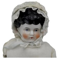 """Antique German China Doll 14"""" Tall Blue White Shoes"""