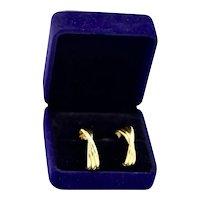 Estate 14K Gold J-Hoop Cross Over High Polish Pierced Earrings