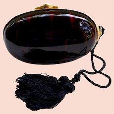 Bonwit Teller Hard Clam Shell Lucite Faux Tortoise Evening Handbag Italy
