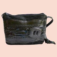 Luxury Carlos Falchi Lizard / Black Python Snake Skin Suede Handbag Italy