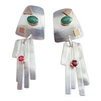 Lynda Thorp Sterling Gemstone Dangle Earrings OOAK Handmade Brass Accent Garnet