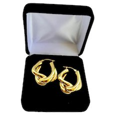 Estate 14K Gold Earrings Estate Knotted Hoops Israel Signed Pierced
