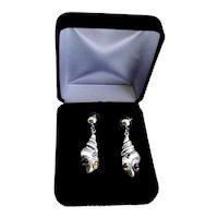 Sterling Silver Gemstone Modernist Shell Earrings Amethyst Citrine Iolite 12 Grams