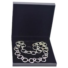 Mexico Silver Silver Open Link Chain Handcrafted Chunky Necklace / Belt 80 Grams