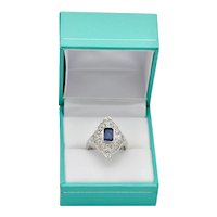 30's Art Deco Ring Platinum Emerald Cut Blue Sapphire Gemstone Engagement