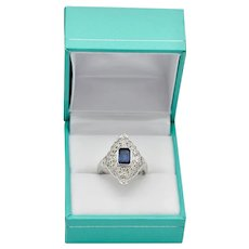 30's Art Deco Ring Platinum Emerald Cut Blue Sapphire Gemstone Engagement
