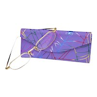 MATUSDA Art Wear 14K Goldplate Optical Deco Style Etched Lenses