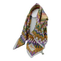 Schiaparelli Square Shaped Kaleidoscope 60's  Hand Rolled Polyester Scarf Italy