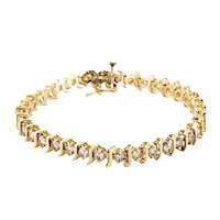 Estate 5.95 Carats Diamond 14K Gold S-Shape Tennis Bracelet