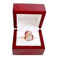 14K Rose Gold Art Deco Diamond Ruby Gemstone Vintage Keepsake Ring 7.5 gr
