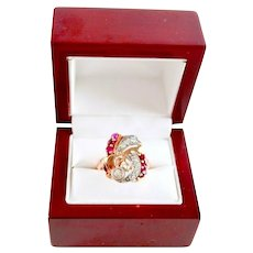 14K Rose Gold Art Deco Diamond Ruby Gemstone Vintage Keepsake Ring 7.5 gr