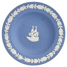 Wedgwood Blue Mayflower 1620-1970 Jasperware Trinket Dish