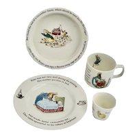 80's WEDGWOOD Beatrix Potter Peter Rabbit 4 Piece Nursery  Set