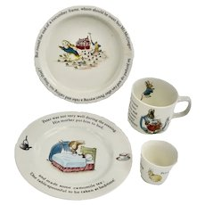 80's WEDGWOOD Beatrix Potter Peter Rabbit 4 Piece Nursery  Set
