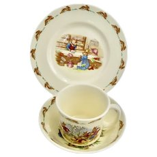 Child's Royal Doulton Bone China Bunnykins 3-Piece Dinnerware Set