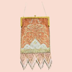 French Art Deco Gold Copper Glass Steel Micro Bead Fringe Handbag