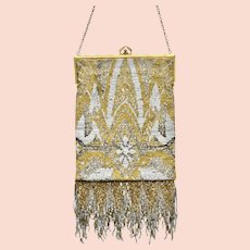France Art Nouveau Gold, Silver, Bronze Glass Micro Bead Fringe Handbag