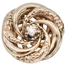Victorian Embossed 14K Rose Gold Diamond Solitaire Pinwheel Brooch