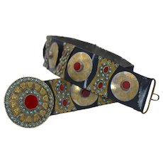 Museum Quality Turkish Ottoman Period Leather Persian Turquoise Carnelian Belt