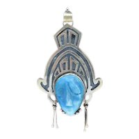 Taxco Mayan Aztec Sterling Larimar Mask Pendant Necklace