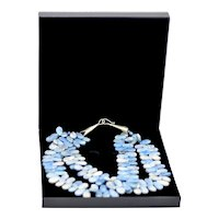 Alluring Sterling Blue white Sodalite Gemstone Double Strand Bead Necklace