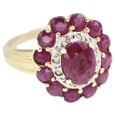 Estate Revival 14K 1.85 Ct Ruby Halo Ring Diamond Accents