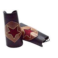 Vintage Unisex Cowboy Custom Cowhide Suede Leather Lace Up Cuffs