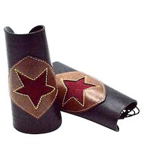 Vintage Unisex Cowboy Custom Cowhide Suede Leather Lace Up Cuffs