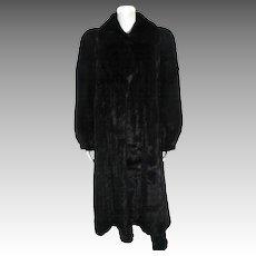 Mary McFadden Designer Full Length Black Ranch Mink Coat
