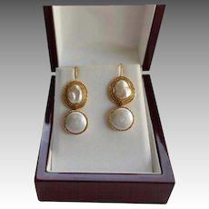 18K Gold Baroque and Mabe Cultured Freshwater Pearl Drop Earrings