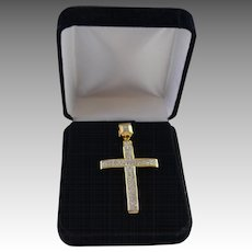 Large 1.35 Carat Diamond Pave Cross set in 10K Yellow / Sterling Setting