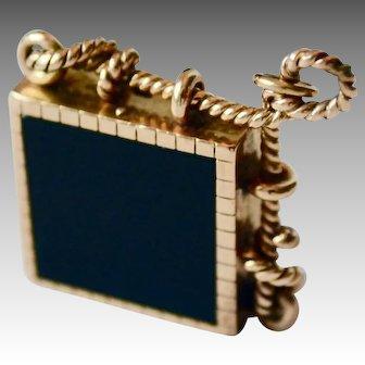 14K Gold Ornate Victorian Reversible Onyx / Tiger Eye Quartz Pendant