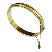 Danecraft Victorian Revival Mid Century Etched 12K Gold Filled Bangle Bracelet