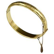 Danecraft Victorian Revival Mid Century Etched 12K Gold Filled Bangle Bracelet