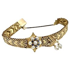 Victorian 14K Gold Woven Bracelet Cultured Pearl / Sapphire Medallion