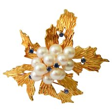 Tiffany & Co 18K Gold Cultured Pearls Sapphire Floral Brooch