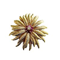 Tiffany & Co 18K Gold Ruby Diamond Floral Brooch