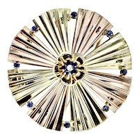 Art Deco 14K Rose Yellow Gold Sapphire Diamond Brooch Large