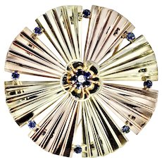 Art Deco 14K Rose Yellow Gold Sapphire Diamond Brooch Large