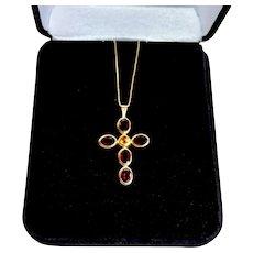 Estate 14K Gold Garnet Citrine Cruifix Cross Pendant Necklace Chain