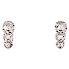 Estate Diamond Earrings 14K Gold Triple Halo Diamond Omega Pierced Signed
