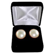 Estate 14K Gold Cultured Saltwater Mabe Pearl Earrings Pie Crust Setting