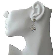 Victorian Style 10K Gold Diamond, Peridot Topaz Gemstone Chandelier Earrings